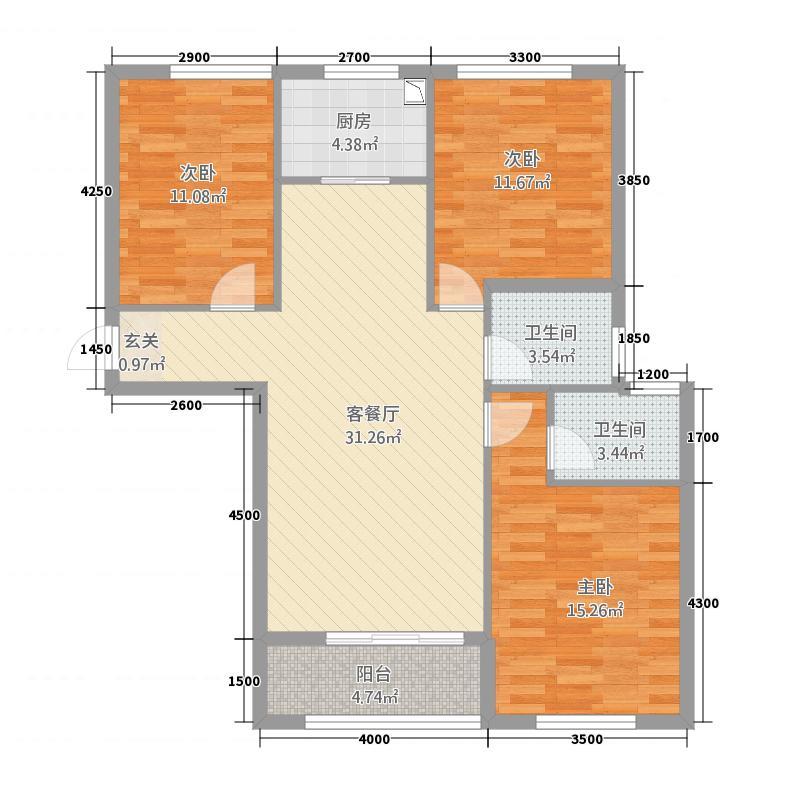 A3户型三室两厅两卫