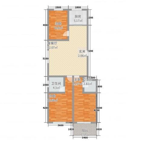 紫檀公馆3室1厅2卫1厨131.00㎡户型图