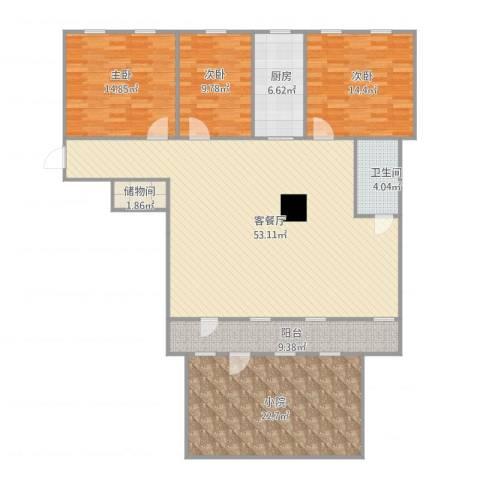 新天地小区3室1厅1卫1厨183.00㎡户型图