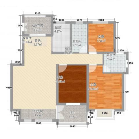 温哥华城・金水河畔3室1厅2卫1厨90.00㎡户型图