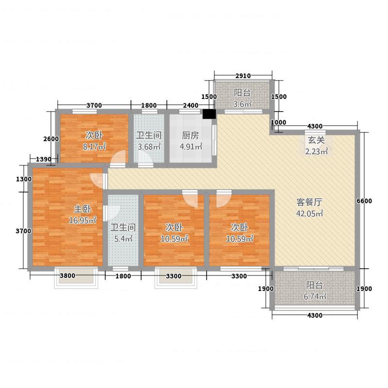 丹霞新城148.00㎡G4户型4室2厅2卫1厨