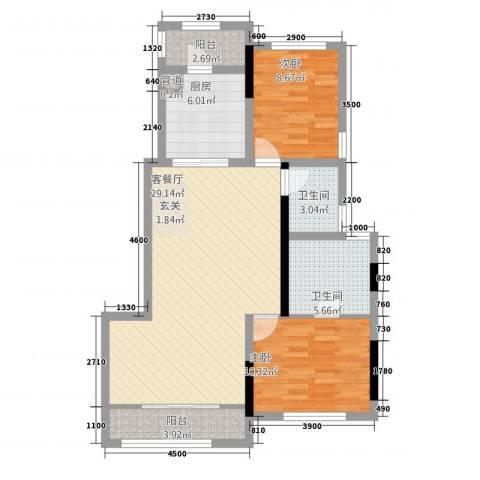 晨兴东湖公馆2室1厅2卫1厨128.00㎡户型图