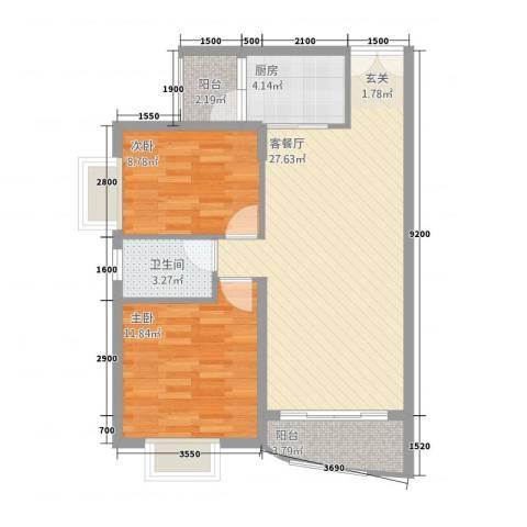 溪冲工人度假村2室1厅1卫1厨87.00㎡户型图