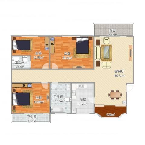国贸新城3室1厅3卫1厨168.00㎡户型图