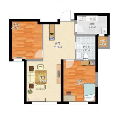 海昌天澜2室1厅1卫1厨87.00㎡户型图
