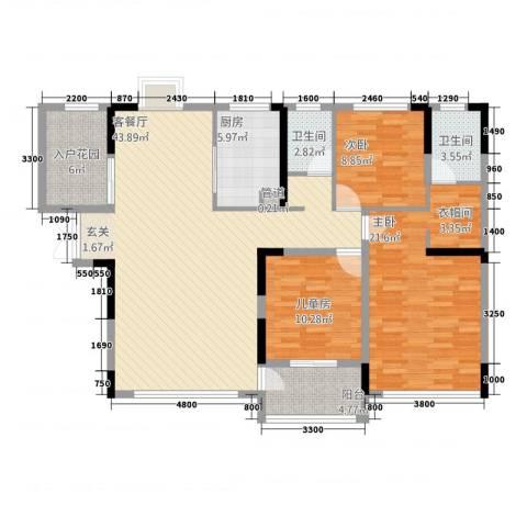 滨江新外滩3室1厅2卫1厨153.00㎡户型图