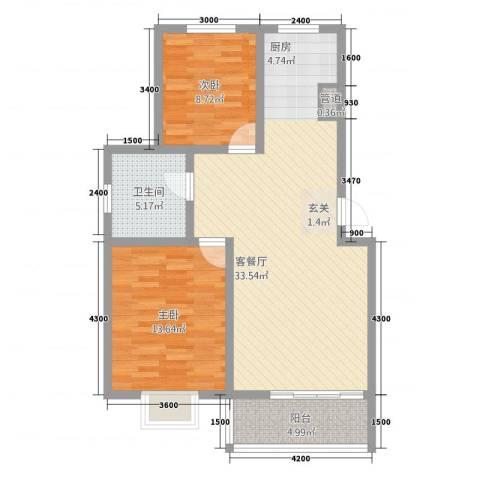 银港佳园2室1厅1卫0厨95.00㎡户型图