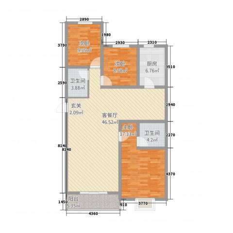 滨河绿洲3室1厅2卫1厨145.00㎡户型图