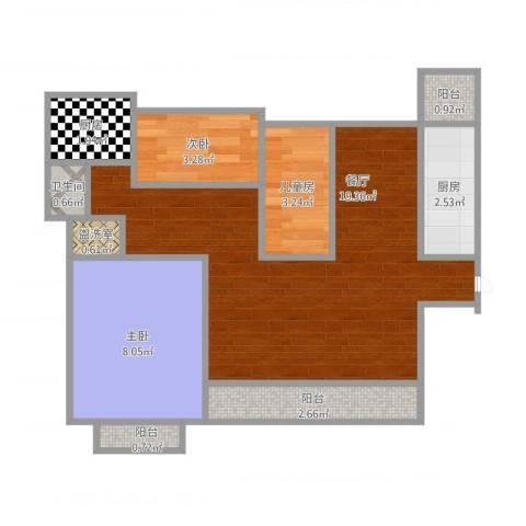 中都沁园3室2厅1卫2厨62.00㎡户型图