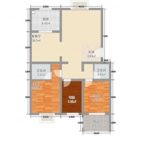 龙城嘉园3室1厅2卫1厨121.00㎡户型图