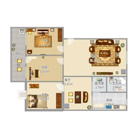 华都凤凰山庄3室3厅1卫1厨146.00㎡户型图