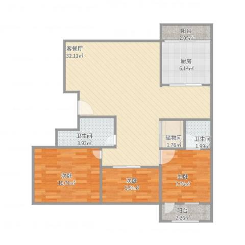 名人大第3室1厅2卫1厨102.00㎡户型图