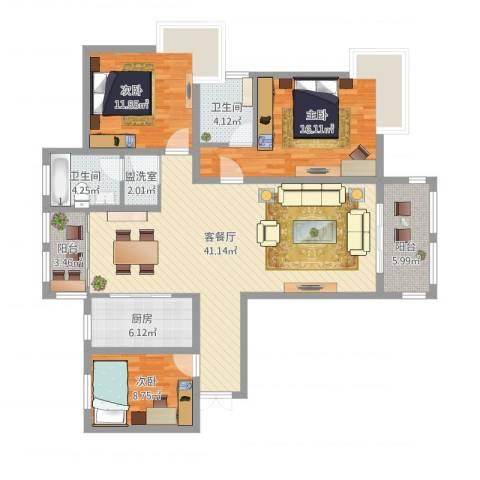 御景豪庭3室2厅2卫1厨148.00㎡户型图