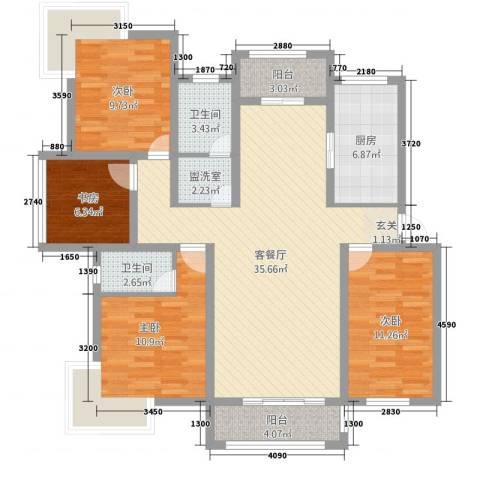 盛世嘉苑二期荷塘月舍4室2厅2卫1厨140.00㎡户型图