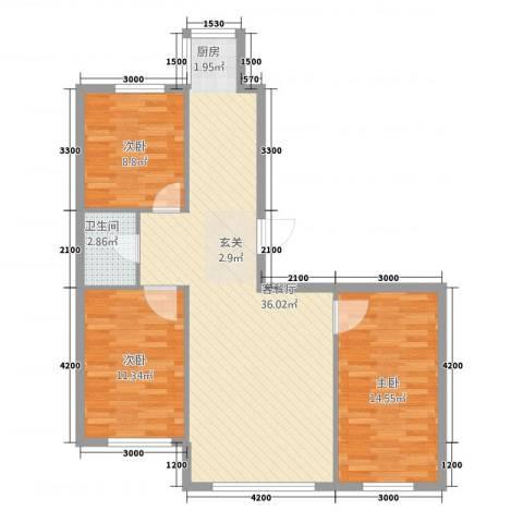 听涛雅苑3室1厅1卫0厨106.00㎡户型图