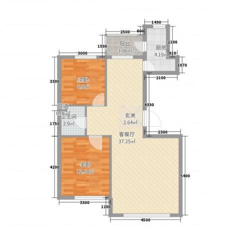 听涛雅苑2室1厅1卫1厨96.00㎡户型图