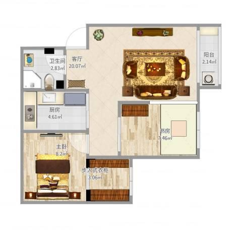 紫荆苑2室1厅1卫1厨67.00㎡户型图