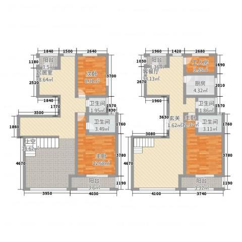 华富世家三期3室1厅4卫1厨277.00㎡户型图