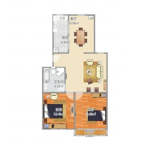 贝港南区2室1厅1卫1厨101.00㎡户型图