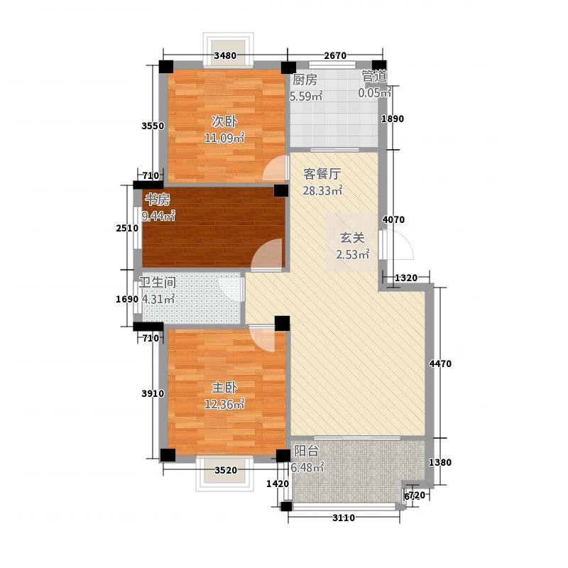学府名门18.12㎡一期J户型3室2厅1卫1厨