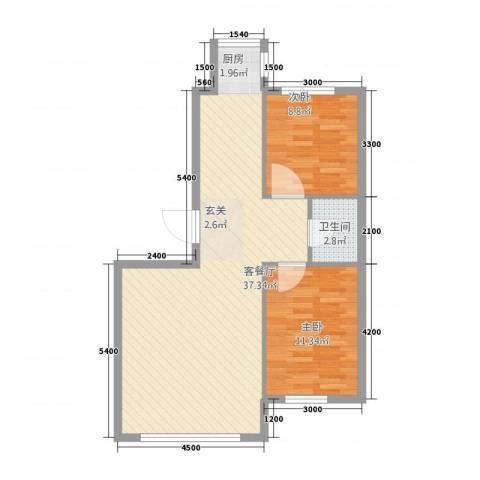 听涛雅苑2室1厅1卫0厨87.00㎡户型图