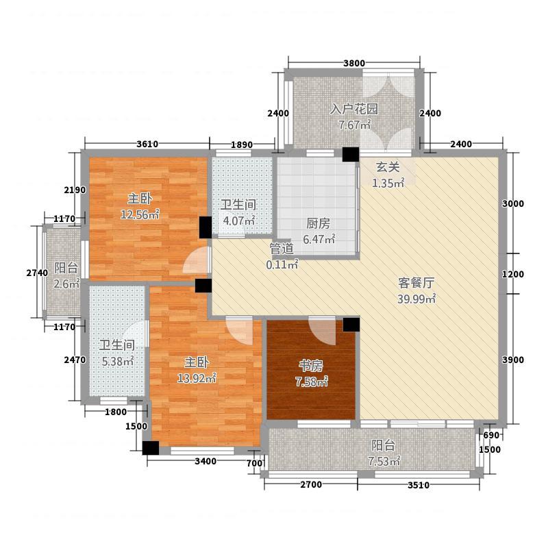 天辰广场128.60㎡1号楼1单元03户型3室2厅2卫1厨