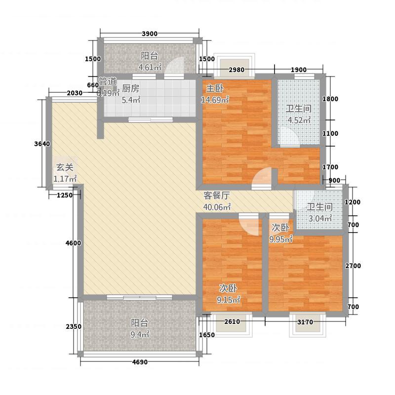 明珠怡园125.87㎡A型户型3室2厅2卫1厨