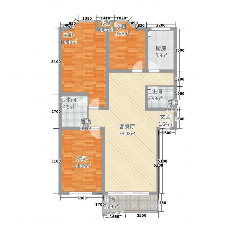 新龙苑西区123.68㎡户型3室2厅2卫1厨