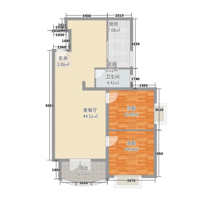 新街坊佳兴园11.75㎡1#m户型2室2厅1卫1厨