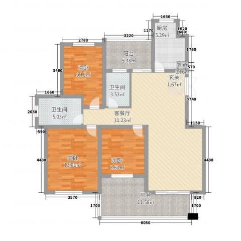 温哥华城・金水河畔3室1厅2卫1厨136.00㎡户型图