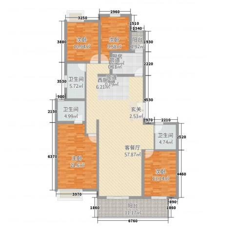 华富世家三期4室1厅3卫1厨147.50㎡户型图