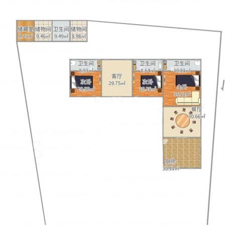江南一品3室2厅4卫1厨307.00㎡户型图