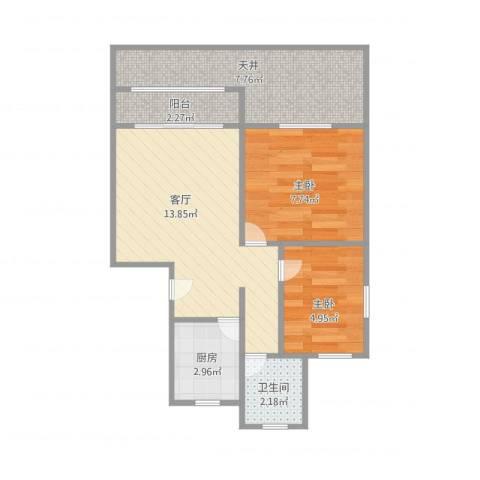 桃林一小区2室1厅1卫1厨58.00㎡户型图