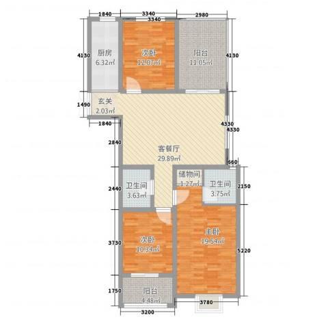 华富世家三期3室1厅2卫1厨147.00㎡户型图