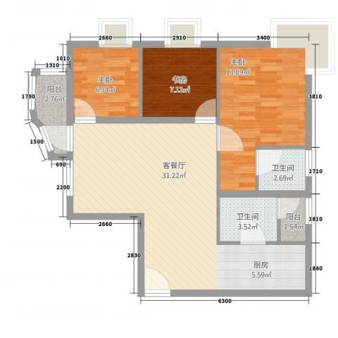 恒安大厦恒福轩3室1厅2卫0厨69.08㎡户型图