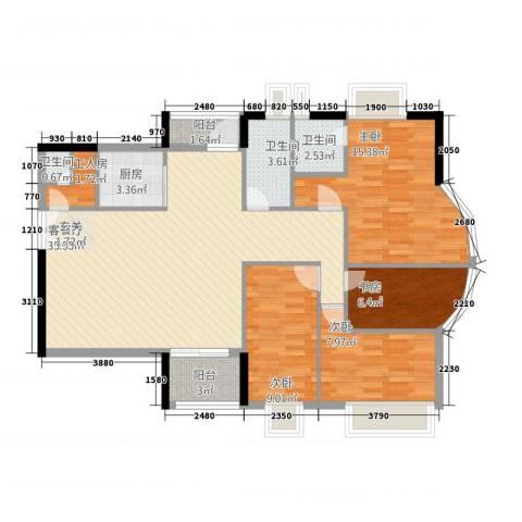 幸福家园4室1厅3卫1厨128.00㎡户型图