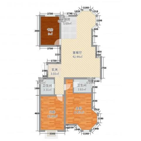 翔凤山水国际3室1厅2卫0厨89.62㎡户型图