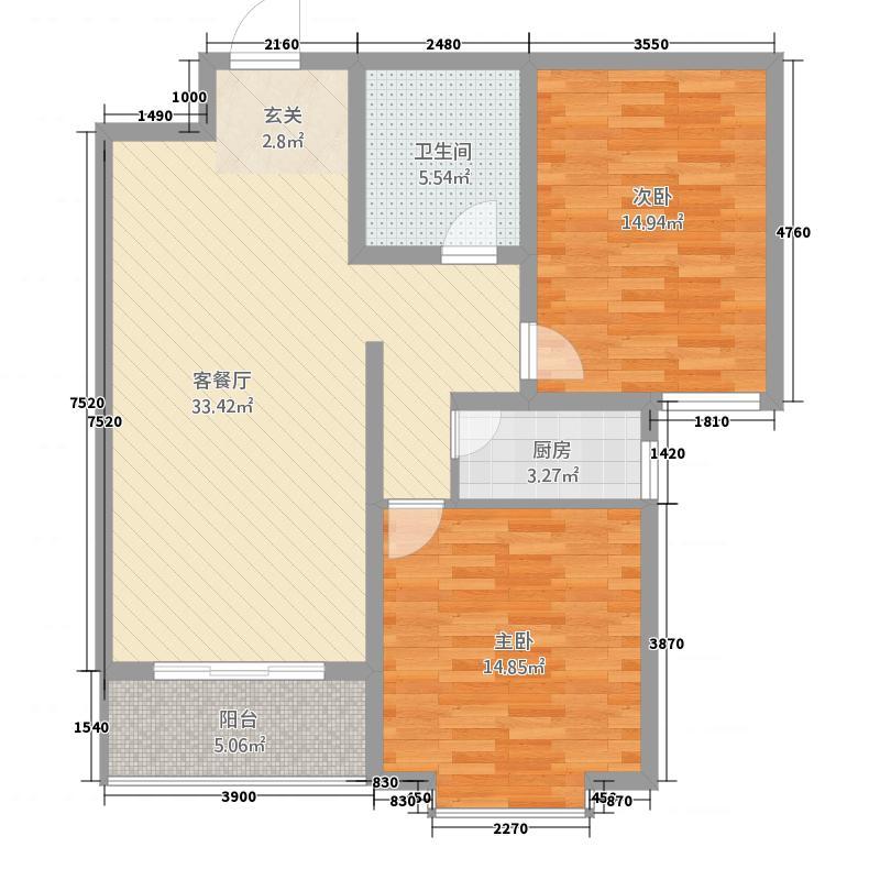 水岸云天114.12㎡P户型2室2厅1卫1厨