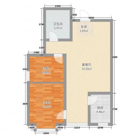 水岸云天2室1厅1卫1厨84.00㎡户型图