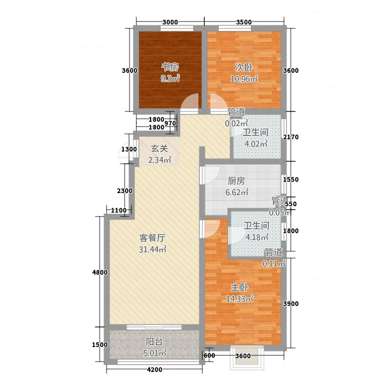 汇邦・中央公馆12.20㎡2号官邸A2户型3室2厅2卫1厨