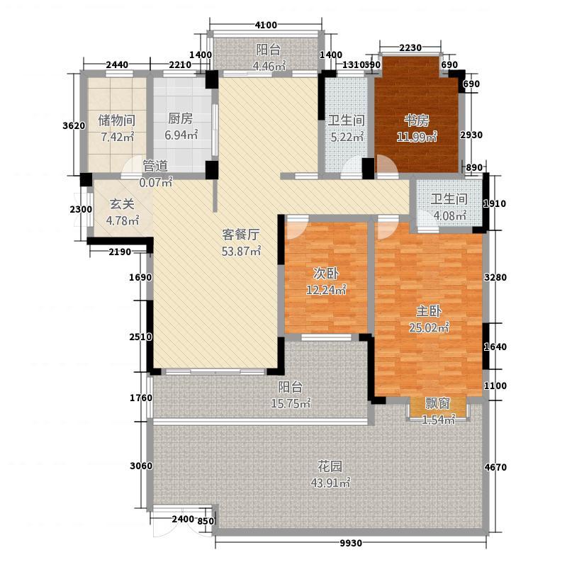 德和・沁园9#楼02一层平面图户型