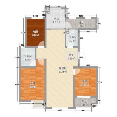 东方骏景3室1厅2卫1厨135.00㎡户型图