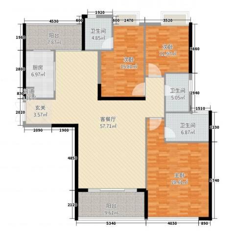 华怡居3室1厅3卫1厨214.00㎡户型图