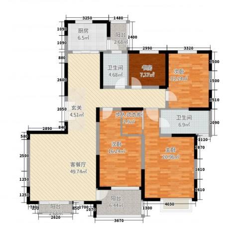 金湖花园4室1厅2卫1厨198.00㎡户型图