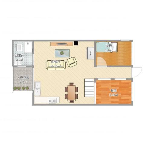 麻涌私宅1f2室1厅1卫1厨58.00㎡户型图