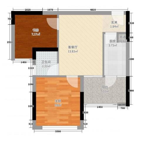 幸福科技园2室1厅1卫1厨60.00㎡户型图