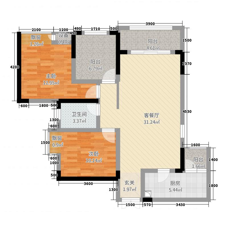 新洪茂・黔南印象15.20㎡1、2#楼3#户型2室2厅1卫