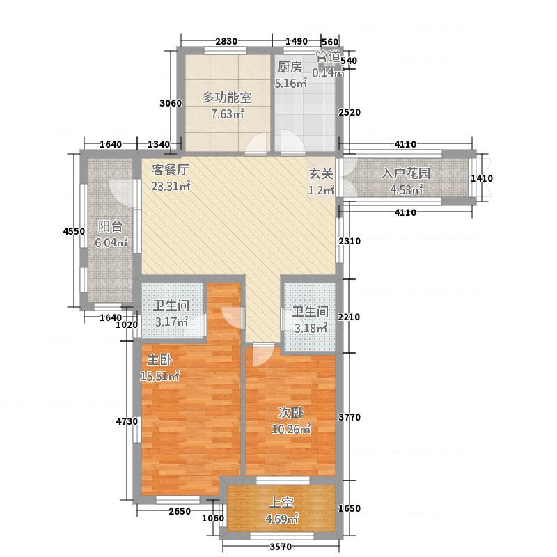 桂语山居12.00㎡户型2室2厅2卫1厨