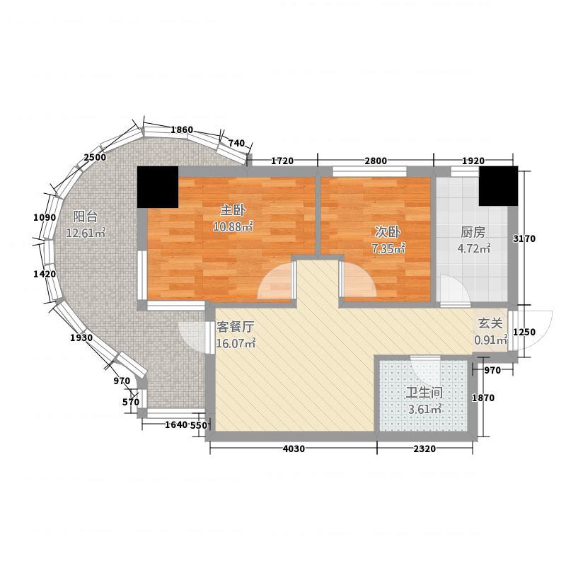大商城市广场77.65㎡211-7765户型2室1厅1卫
