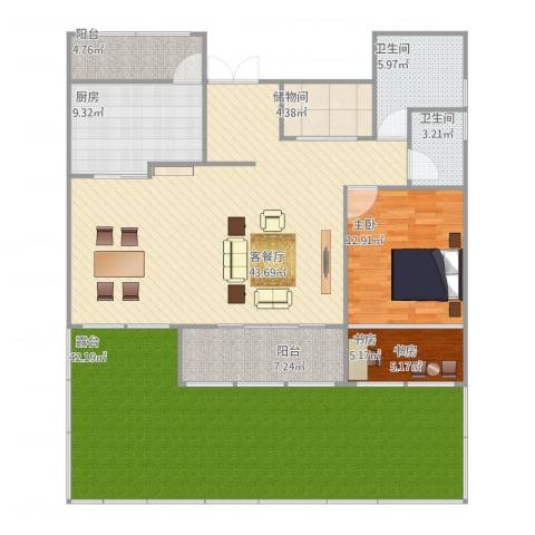 自己造的房子2室1厅2卫1厨185.00㎡户型图